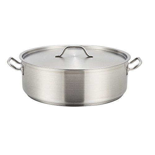 Winco SSLB-20, 20-Quart Stainless Steel Brazier Pan With Lid, Cooking Pan with Cover
