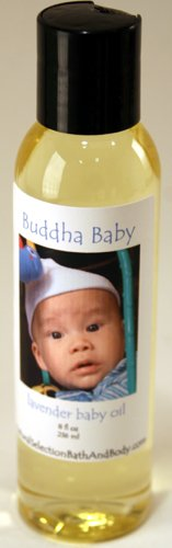 Personalized Buddha Baby Lavender Oil with blue font on label