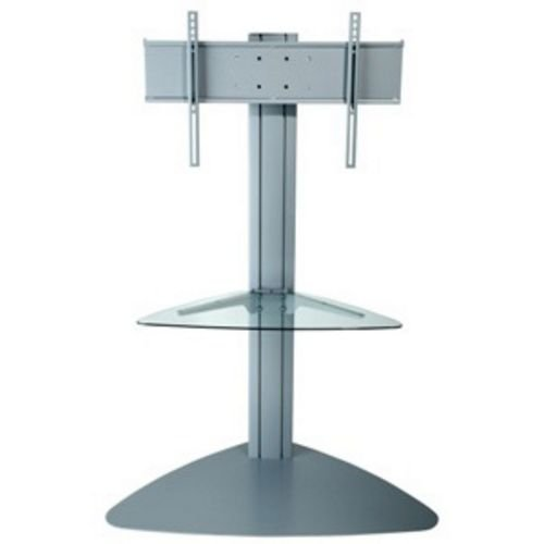 """Peerless Sgls01 Universal Floor Stand With Clear Glass Shelf For 32""""-50"""" Displays - Silver"""