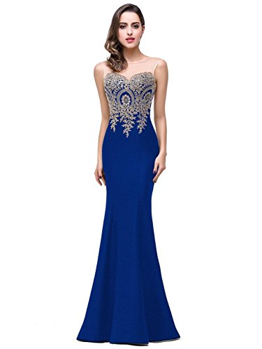 Women's Lace Applique Long Formal Mermaid Evening Prom Dresses,Royal Blue,8