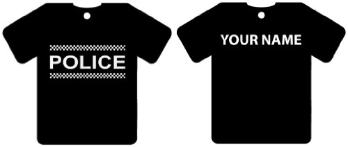 PERSONALISED POLICE SHIRT CAR AIR FRESHENER (XMAS STOCKING FILLER)