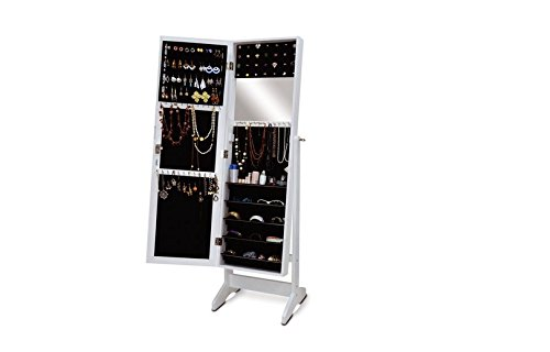 White Color Wooden Mirror Jewelry Holder Cabinet Holder, Mdf Stand & Cabinet With Black Felt front-303769