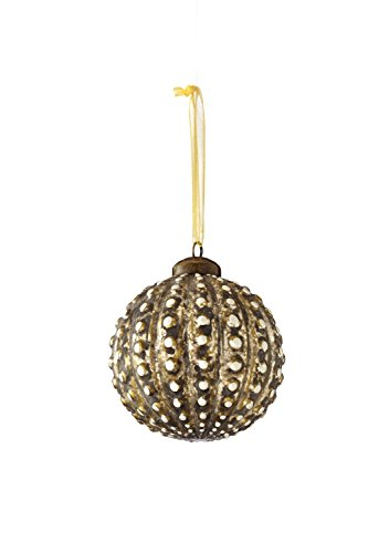 Sage & Co. XAO16739GD 4.5″ Glass Beaded Ball Ornament
