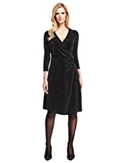 M&S Collection Metallic Effect Mock Wrap Dress