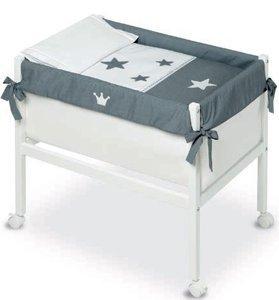 Bimbi 16240920–Minicuna, motivo corona, 61x 90x 80cm, colore: bianco/grigio