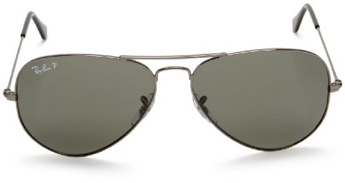 New Ray Ban RB3025 004/58 Aviator Gunmetal/Crystal Green 55mm Polarized Sunglasses