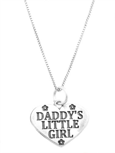 Sterling Silver Daddy's Little Girl Flowered Heart Charm with Box Chain Necklace (16 Inches)