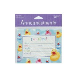 Rubber Ducky 8 Count Announcements Cards/envelopes