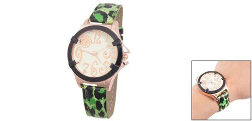 Ladies Black Leopard Print Green Adjustable Quartz Watch