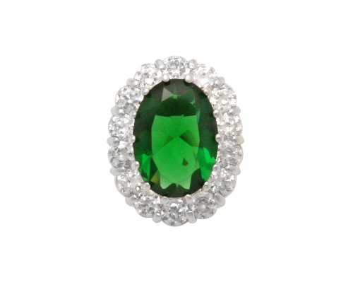 JanKuo Jewelry Silver Tone Oval Shape Cubic Zirconia Emerald May Birthstone French Clip Earrings Ship in Gift Box.