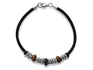 Fred Bennett Tigers Eye And Silver Brown Leather Bracelet - 22cm
