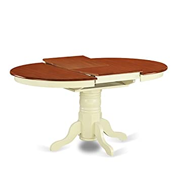 East West Furniture KET-WHI-TP Oval Dining Table with 18-Inch Butterfly Leaf