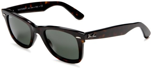 Ray-Ban RB2140 Original Wayfarer Sunglasses 50 mm,Tortoise frame/Crystal Green lens