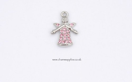 Guardian Angel Charm - Crystal Encrusted - Pink