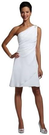 Chiffon One Shoulder Draped Beaded Wedding Dress White, 6