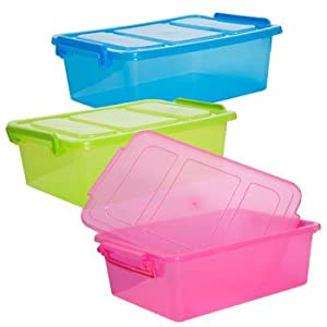 ... BLUE Mini Clip-Lock Lid Storage Container - Lidded Home Storage Bins