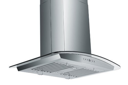 Z Line Zlgl530B Stainless Steel And Glass Island Mount Range Hood, 30-Inch