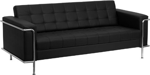 Contemporary Black Leather Sofa with Encasing Frame