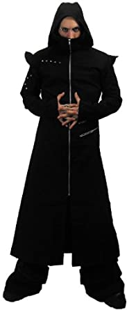 Buy Necessary Evil Odin Goth Full Length Black Twill Mens Hooded Coat by Necessary+Evil