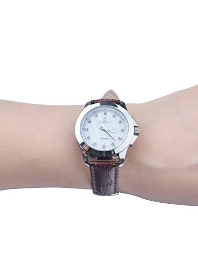 Megir Women's 5006L White Shell Dial Brown Leather Strap Quartz Watch mathable 5006
