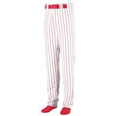 Striped Open Bottom Baseball Softball Pants - MEDIUM - RED & WHITE by Augusta