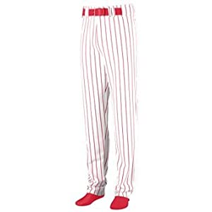 Youth Striped Open Bottom Baseball Softball Pants - WHITE AND RED - MEDIUM by Augusta