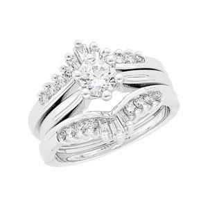 14K White Gold 3/8 ct tw Diamond Ring Guard: 3/8 CT TW Size: 12