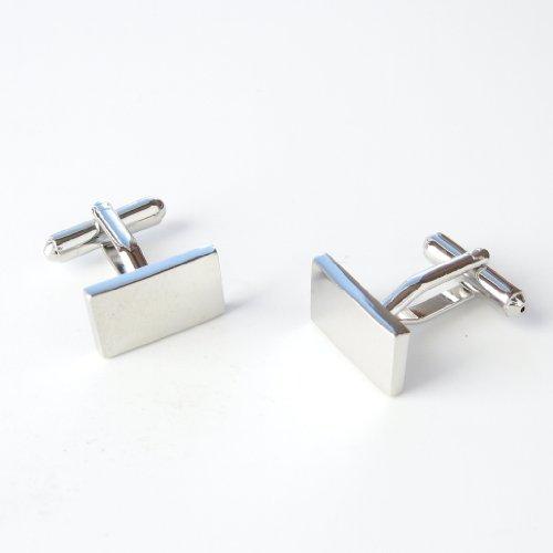 Flat Silver Plain Rectangle Cufflinks