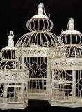 Decorative Metal, Antique Cream Birdcages - Set of 3