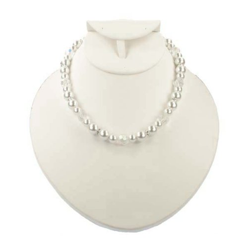 Wedding Bridal White Pearl Crystal Necklace Fashion Jewelry