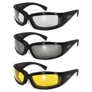 Set of (3) Stray Cats Motorcycle Glasses Sunglasses Smoked Clear Yellow New Double Sided Anti Fog Coating Foam Padded UV400 MSRP is $48.00 for the Set
