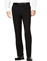Supercrease™ Active Waistband Flat Front Trousers with Wool