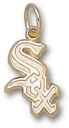 Chicago White Sox Sox with Border 1 2 Charm - 14KT Gold Jewelry by Logo Art