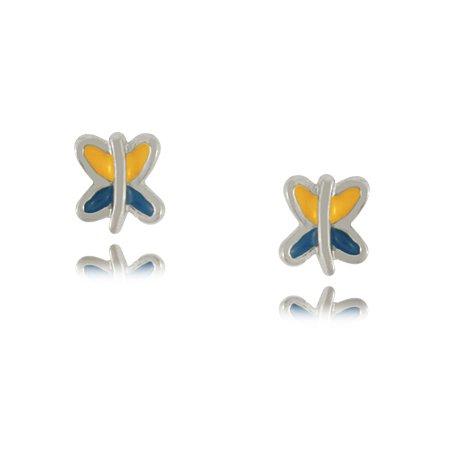 Child's Enamel Butterfly Earrings in Sterling Silver For Babies & Girls