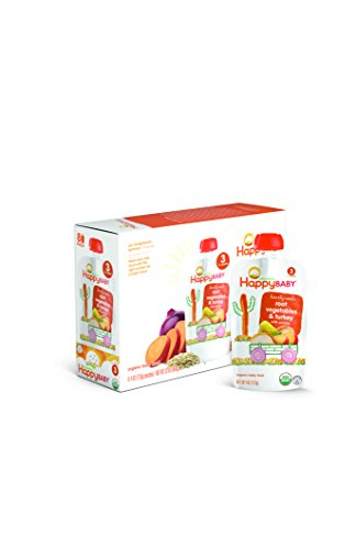 Happy Baby Organic Stage 3 Baby Food, Hearty Meals, Root Vegetables & Turkey with Quinoa (8 Count, 4 oz Each)
