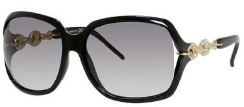 Gucci GG3584/S Sunglass-0REW Shiny Black/Gold (EU Gray Gradient Lens)-59mm