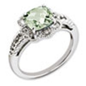 Sterling Silver Genuine Green Quartz & Diamond Ring