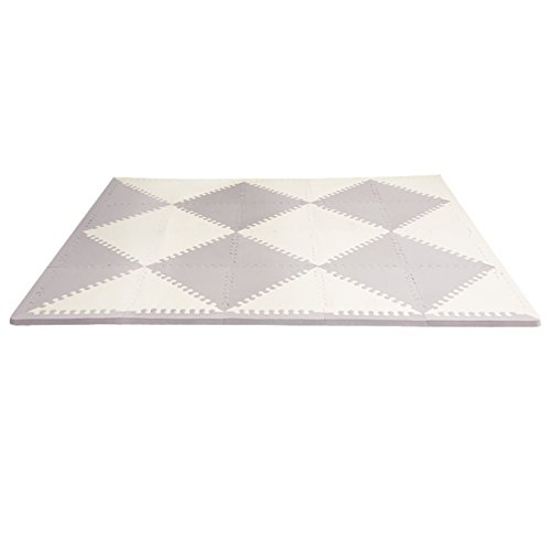 Skip Hop Baby Infant and Toddler Geo Playspot Foam Floor Tile Playmat, Grey – White, Chevron
