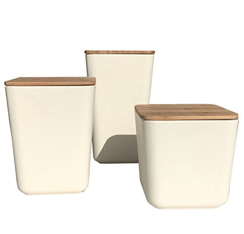 Clean Dezign Bamboo Fiber Kitchen Canister 3 piece set with Airtight Bamboo Lid (Natural White) (Bamboo Lid Glass Container compare prices)