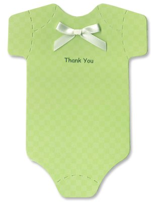 Baby Thank-You Cards - Light Green Checked Onesies