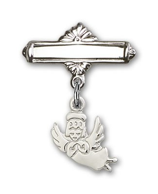 Sterling Silver Baby Badge with Guardian Angel Charm and Polished Badge Pin