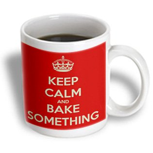 3Drose Mug_159621_1 Keep Calm And Bake Something Baker Dessert, Ceramic Mug, 11-Ounce