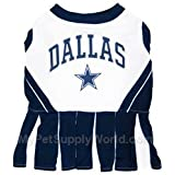 Pets First Dallas Cowboys NFL Team Pet Dog Cheerleader Sports Outfit - Extra Small