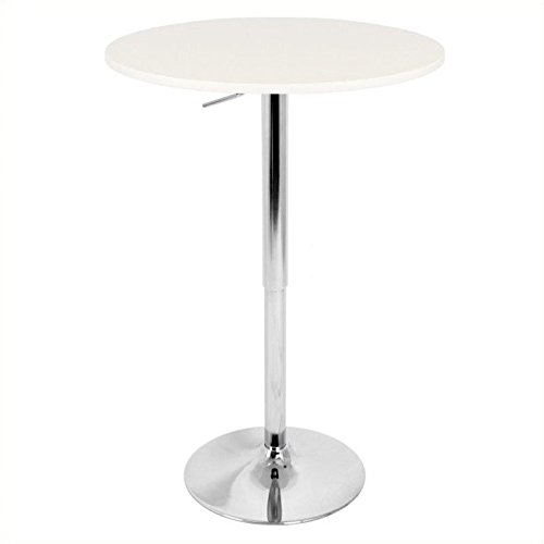 LumiSource LLC Adjustable Bar Table, WHITE (White Pub Table compare prices)