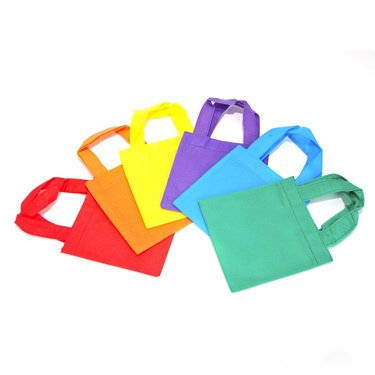 "Set of 6 Non-woven Tote Bags 6"" Assorted Colors Party Bag"