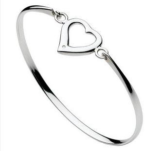Sterling Silver Diamond Open Heart Bangle D702HP