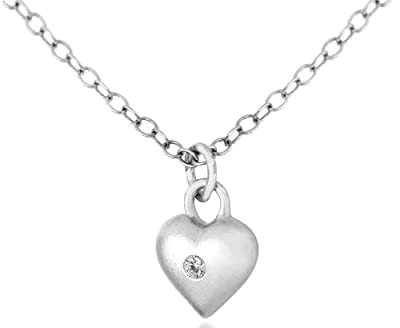 Lily & Lotty Silver and Diamond Small Heart Pendant on Chain of 40-45cm