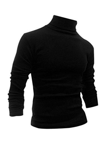 Allegra K Men Long Sleeve Turtle Neck Slim Fit Casual T Shirt Black