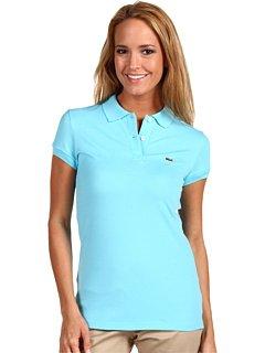 Lacoste Women Short Sleeve 2 Button Stretch Pique Polo -Blue (Size 8)