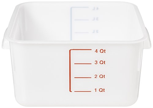 Rubbermaid Commercial Products FG9F0400WHT Food Storage Container, Space-Saver, Square, 4 quart, White (Commercial Grade Food Containers compare prices)
